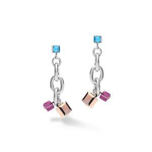 Coeur De Lion Chunky Chain Earrings - Multicolour Art Nouveau 5063211578