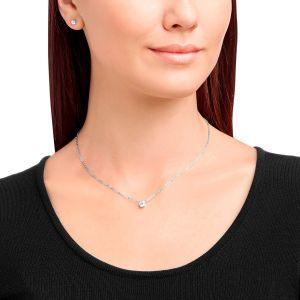 Swarovski Attract Round Necklace & Earrings Set, White, Rhodium Plating 5113468