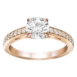 Swarovski Attract Round Ring, White, Rose Gold Plating 5184217, 5184204, 5184208