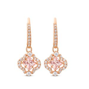 Swarovski Sparkling Dance Pierced Earrings- Clover- Pink and Rose Gold Plated