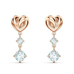 Swarovski Lifelong Heart Pierced Drop Earrings - Rose Gold Plated  - 5517942