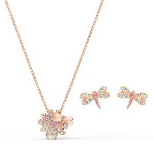 Swarovski Eternal Flower Dragonfly Set - Rose Gold Plated