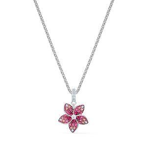 Swarovski Tropical Flower Pendant Necklace - Rhodium Plating