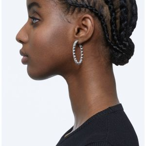 Swarovski Millenia Hoop Earrings Open Triangle - White with Rhodium Plating 5602230