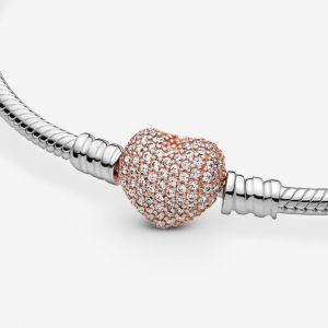Pandora Moments Rose Pavé Heart Clasp Snake Chain Bracelet-586292cz-16, 17, 18, 19, 20, 21