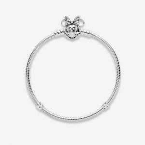 Pandora Disney Moments Pavé Minnie Mouse Clasp Snake Chain Bracelet-597770CZ-16, 17, 18, 19, 20, 21