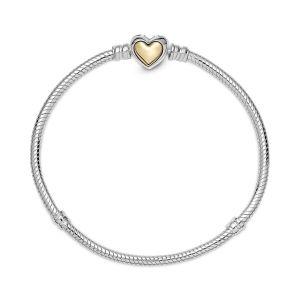 Pandora Domed Golden Heart Clasp Snake Chain Bracelet 599380C00