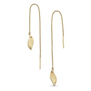 Kit Heath Blossom Eden Leaf Chain Gold Plate Drop Earrings 60251GD027