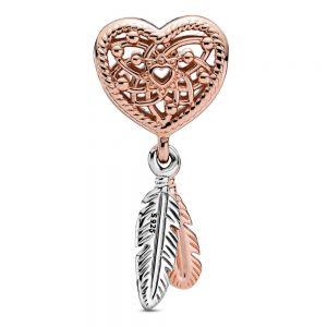 Pandora Openwork Heart & Three Feathers Dreamcatcher Charm - Rose Gold Tone Plating 789068C00