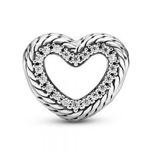 Pandora Snake Chain Pattern Open Heart Charm 799100C01