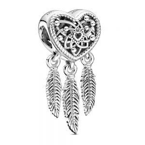 Pandora Openwork Heart & Three Feathers Dreamcatcher Charm 799107C00