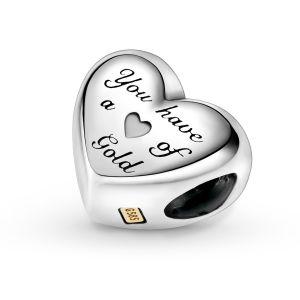 Pandora Domed Golden Heart Charm