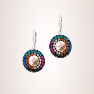Coeur De Lion Amulet Earrings with Swarovski® Crystals & Mesh