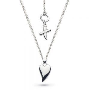 Desire Kiss Rhodium Plate Mini Heart Necklace 90BJ028