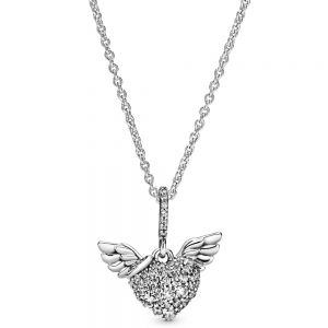 Pandora Pavé Heart and Angel Wings Necklace - 398505c01