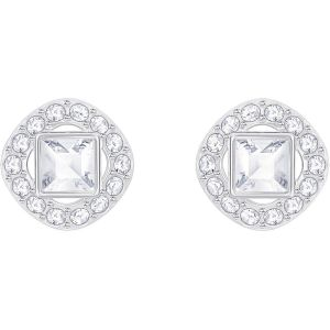 Swarovski Angelic Square Pierced Earrings, White Rhodium Plating 5368146