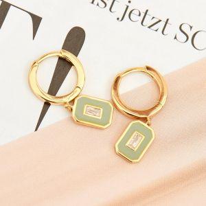 Ania Haie Sage Enamel Gold Hoop Earrings