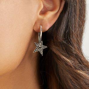 Annie Haak Black Crystal Star Hoop Silver Earrings E0174PR