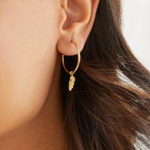 Annie Haak Feather Hoop Earrings - Gold
