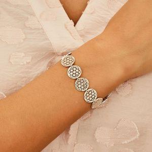 Flower of Life Silver Linked Bracelet B2083-18