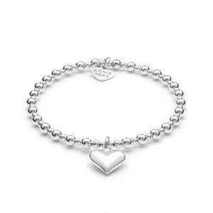 Annie Haak Mini Orchid Silver Charm Bracelet - Solid Heart