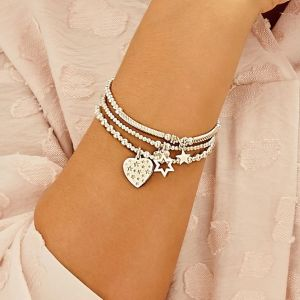 Annie Haak Mini Orchid Silver Charm Bracelet – Heart with Stars