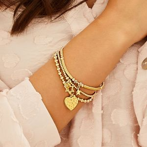 Annie Haak Mini Orchid Gold Charm Bracelet - Heart with Stars B2094-17