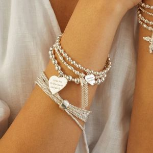 Annie Haak Orchid Silver Charm Bracelet - Love You To The Moon And Back