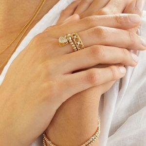 Annie Haak Santeenie Silver Charm Ring - Sparkling Heart