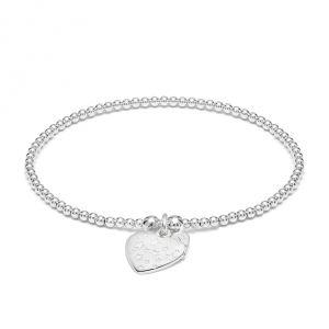 Annie Haak Santeenie Silver Charm Bracelet - Heart with Stars B2074-17, B2074-19