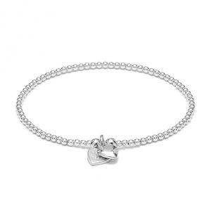 Annie Haak Santeenie Silver Charm Bracelet - Solid Heart B2072-17, B2072-19