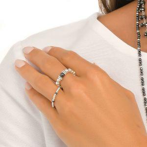 Annie Haak Seri Hematite Silver Ring R0327