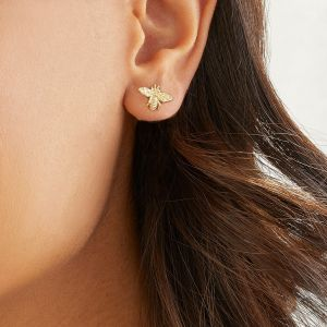 Annie Haak Tiny Bee Gold Stud Earrings