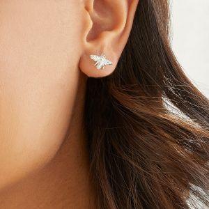 E0266 Annie Haak Tiny Bee Silver Stud Earrings