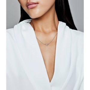 Asymmetrical Heart Necklace 45 cm - 397797CZ
