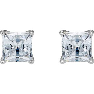 Attract Pierced Earrings, White, Rhodium plated 5509936
