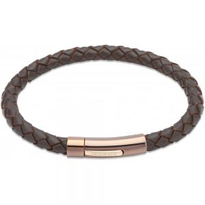 Unique and Co Men's Dark Brown Leather Bracelet, Rose Tone Clasp
