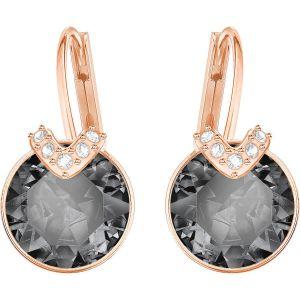 Swarovski Bella V Pierced Earrings, Grey, Rose Gold Plating 5299317