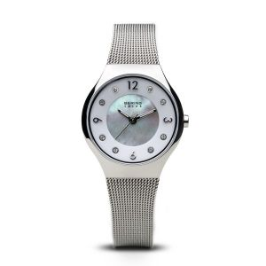 Bering Ladies Solar Polished Silver Watch - 14427-004