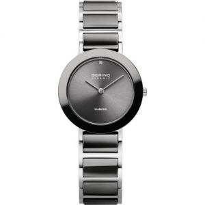 Bering Ladies Grey Ceramic Watch with Diamond - Charity Collection