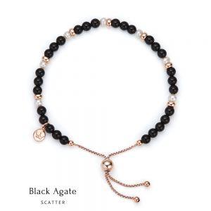 Jersey Pearl Sky Bracelet - Scatter Style in Black Agate