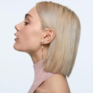 Swarovski Constella Asymmetrical Earrings - Gold-tone Plating Shiny