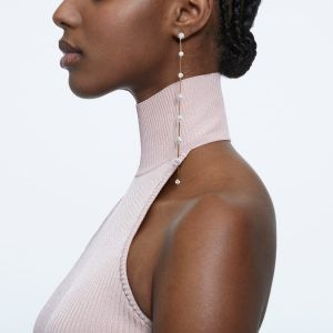 Swarovski Constella Earrings - Asymmetrical Rose Gold Tone Plated 5609707