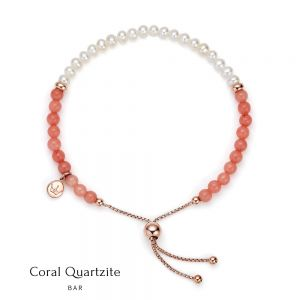 Jersey Pearl Sky Bracelet - Bar in Coral