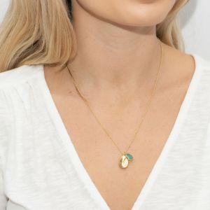Sarah Alexander Cove Aqua Calci and Nugget Charm Necklace