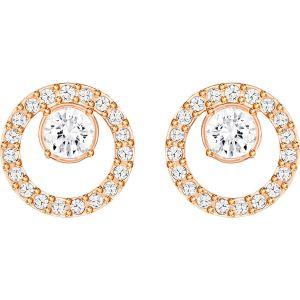 Swarovski Creativity Circle Pierced Earrings, White, Rose Gold Plating 5199827