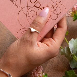 Annie Haak Silver Dainty Boxed Heart Ring