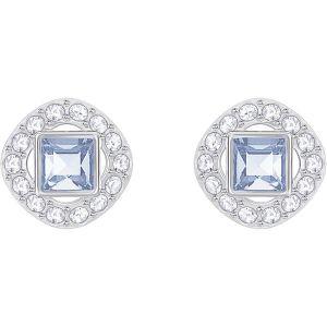 Swarovski Angelic Square Pierced Earrings, Blue, Rhodium Plating 5352048