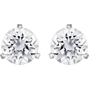 Swarovski Solitaire Pierced Earrings, White, Rhodium Plating 1800046