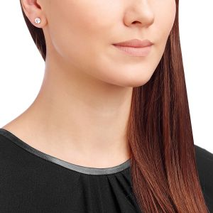 Swarovski Solitaite Pierced Earrings, White, Rose Gold Plating 5112156